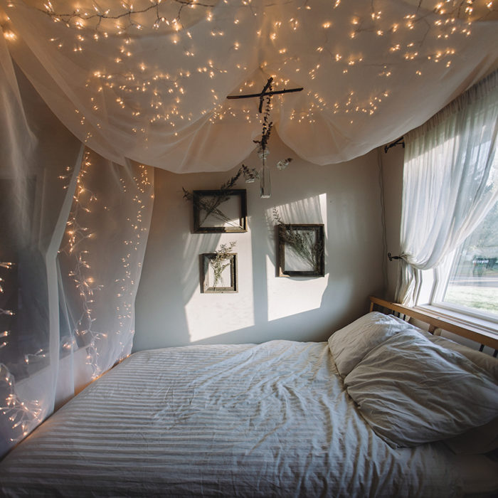 String Light Bed Canopy