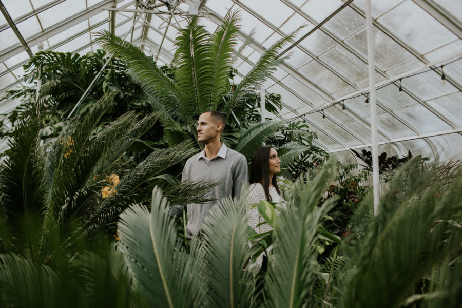 couple standing in volunteer park conservatory