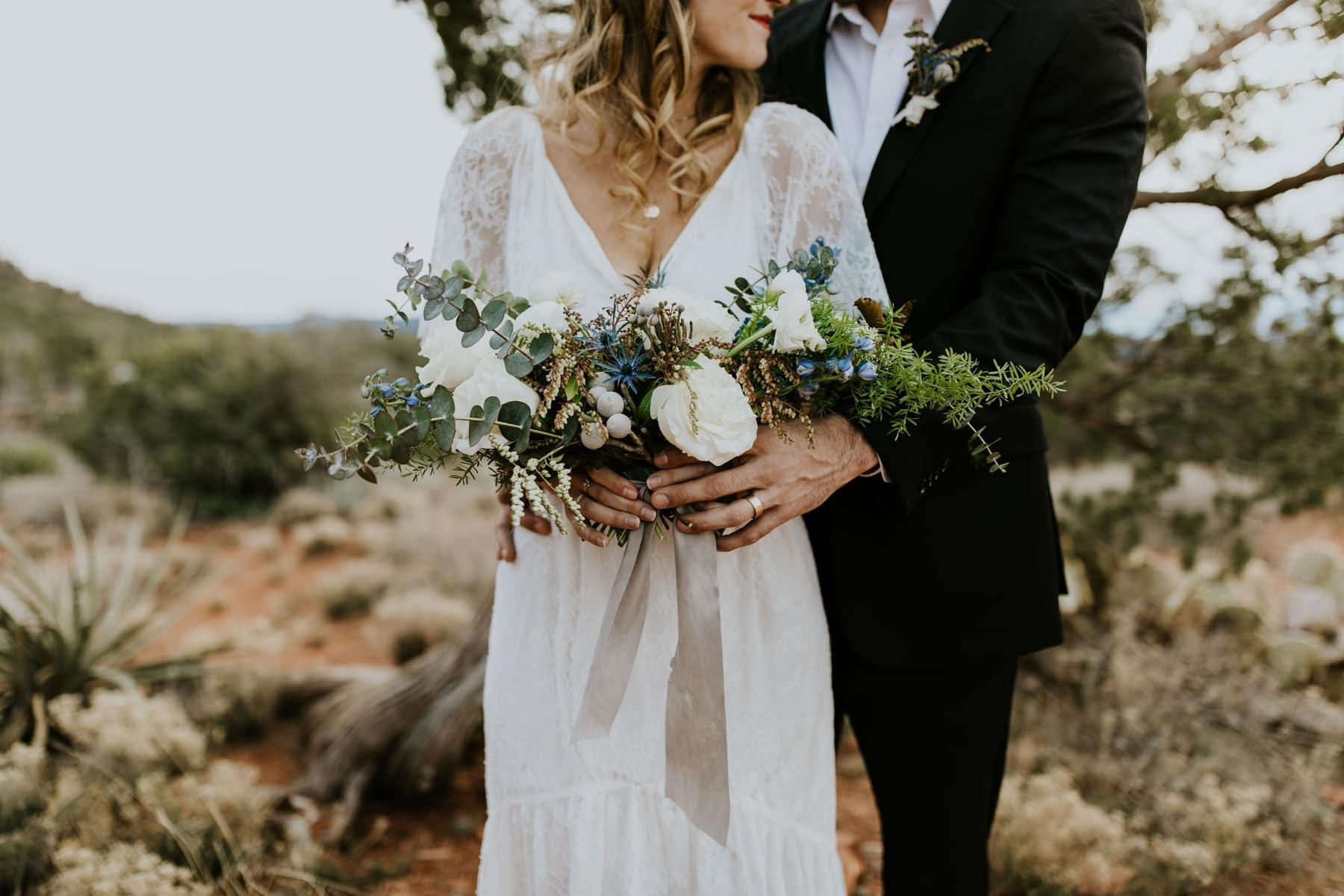 airy bride and groom sedona elopement