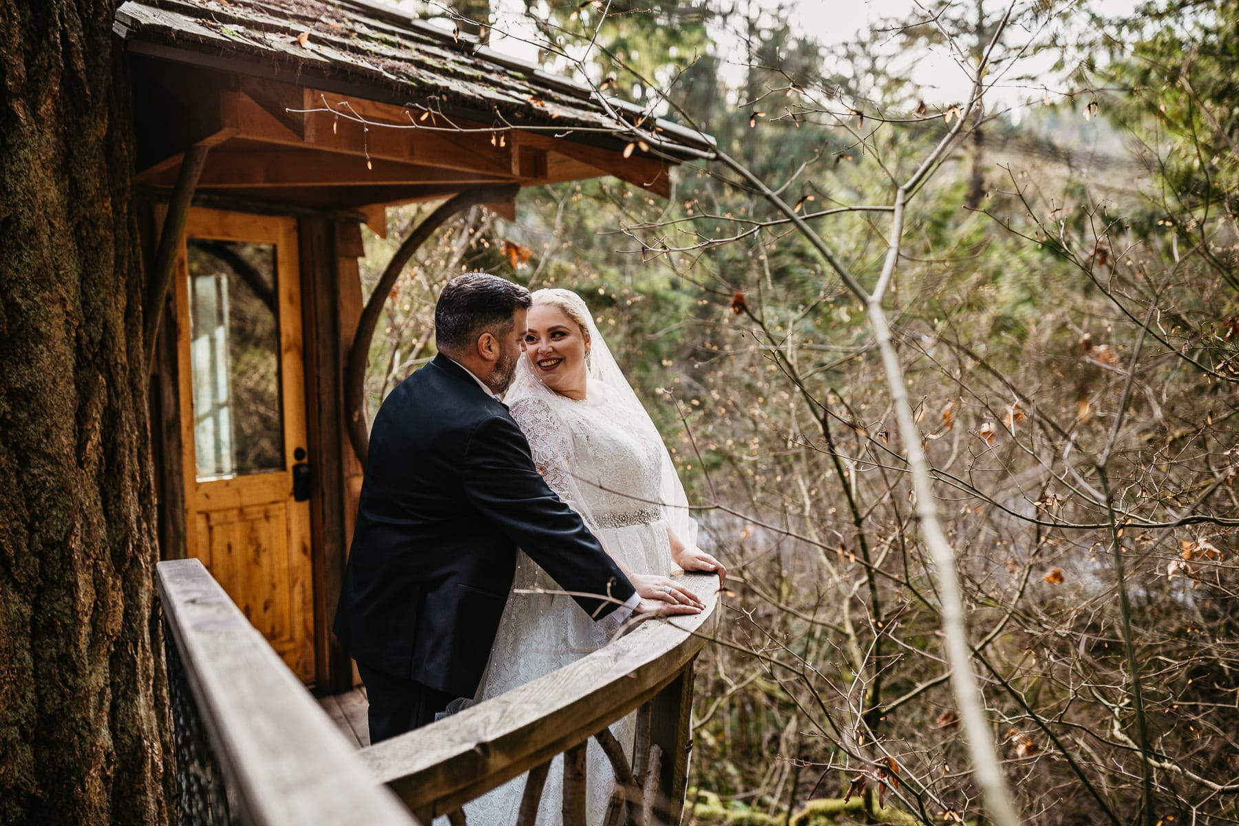 treehouse point wedding in winter