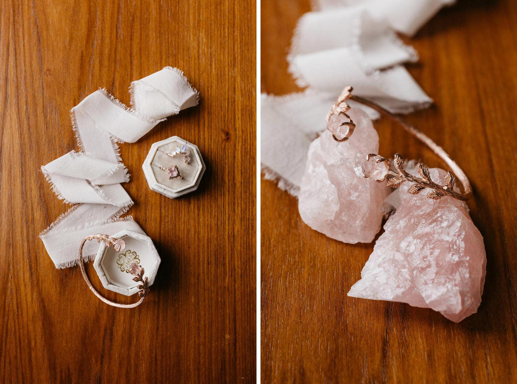 rose quarts wedding jewelry ring
