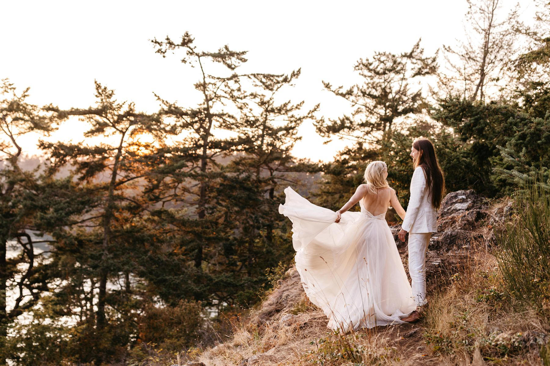 deception pass wedding sunset portrait
