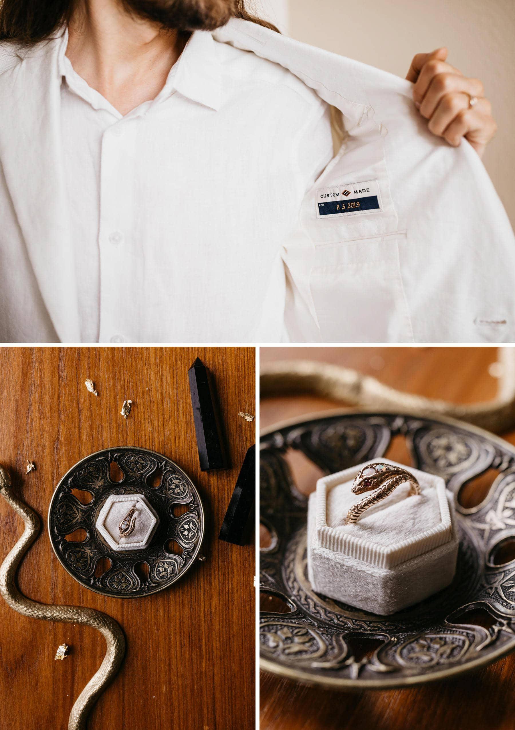 snake wedding ring white groom suit
