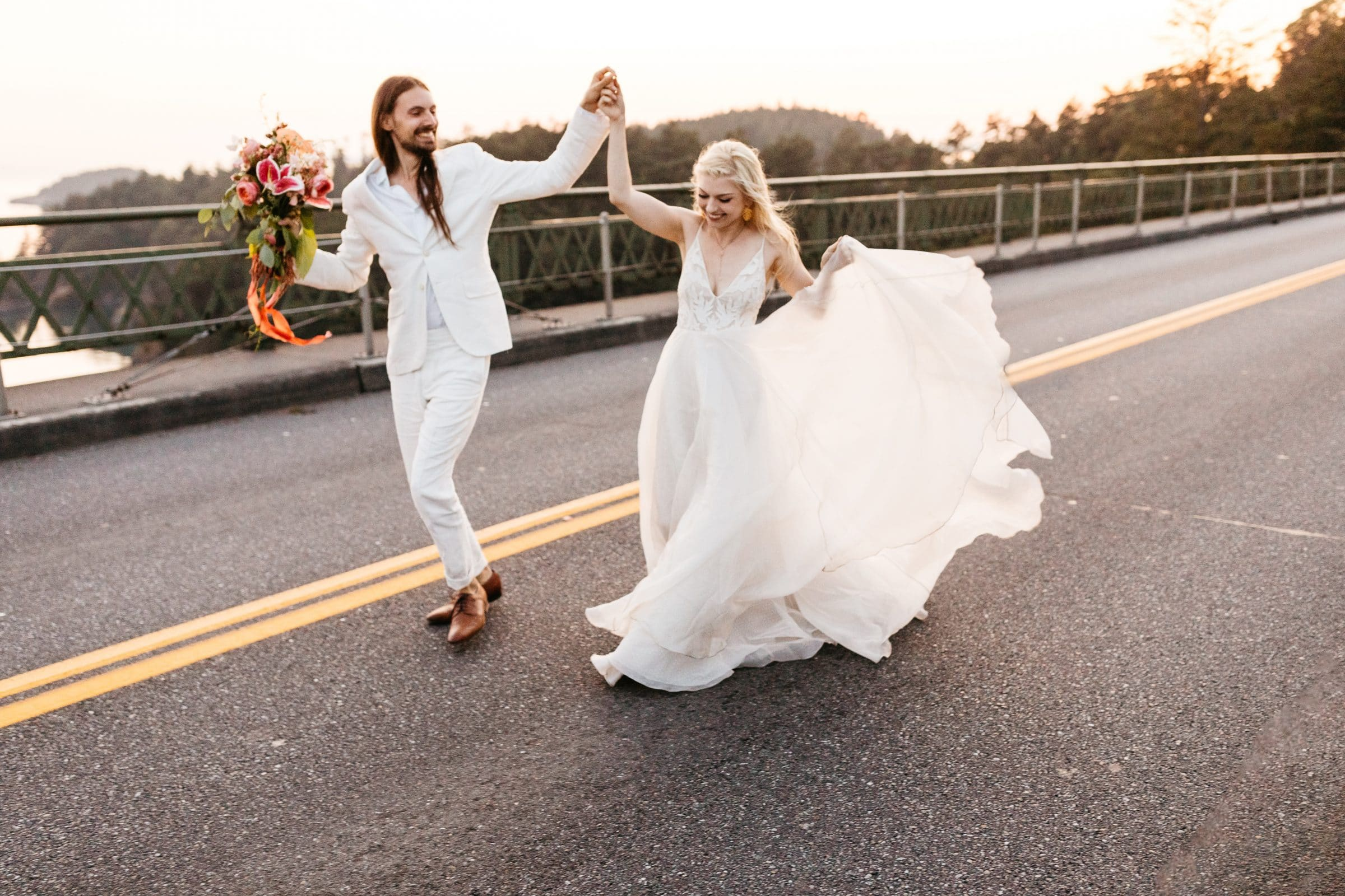 deception pass bridge wedding photo
