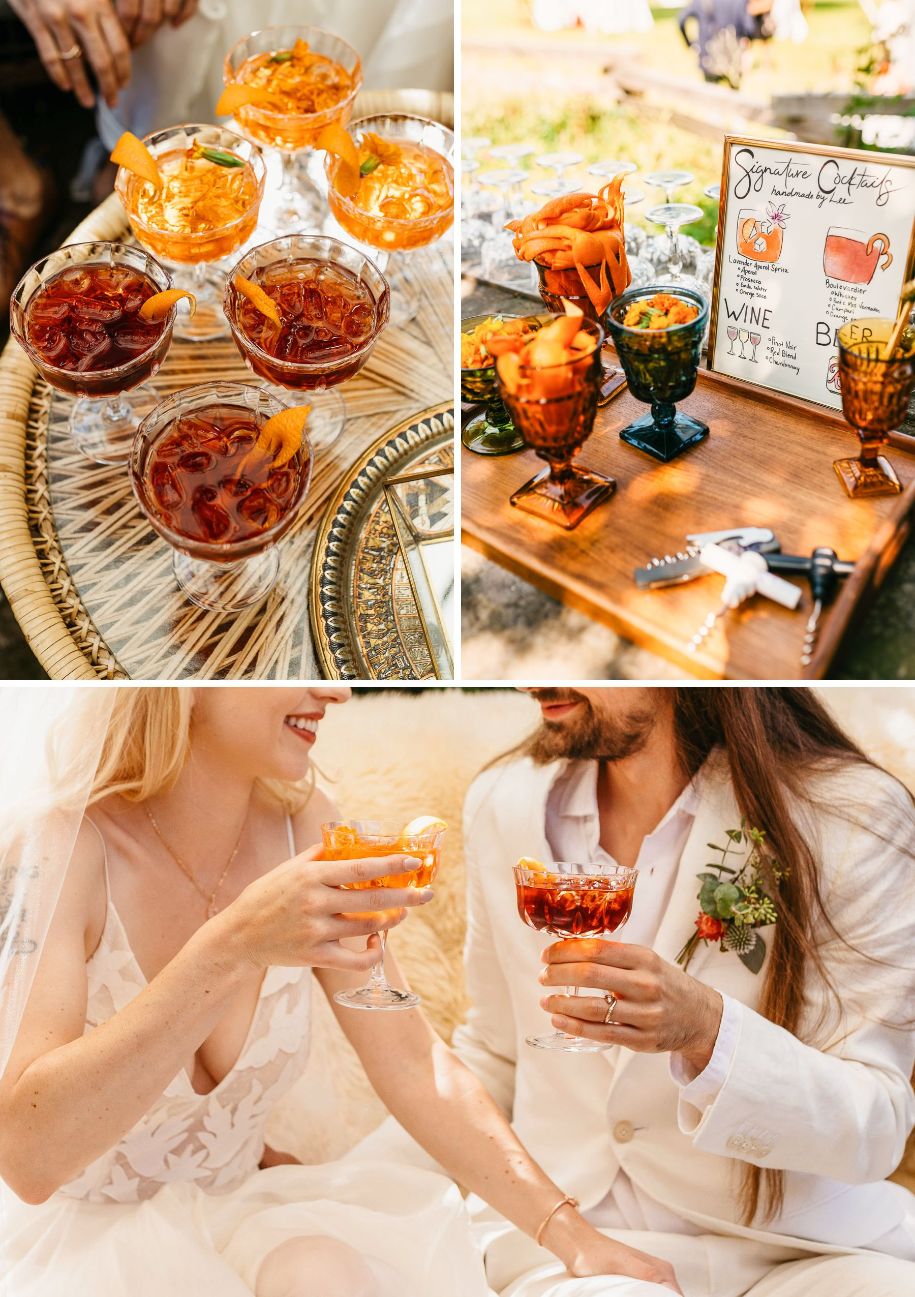 wedding craft cocktails aperol spritz nergroni