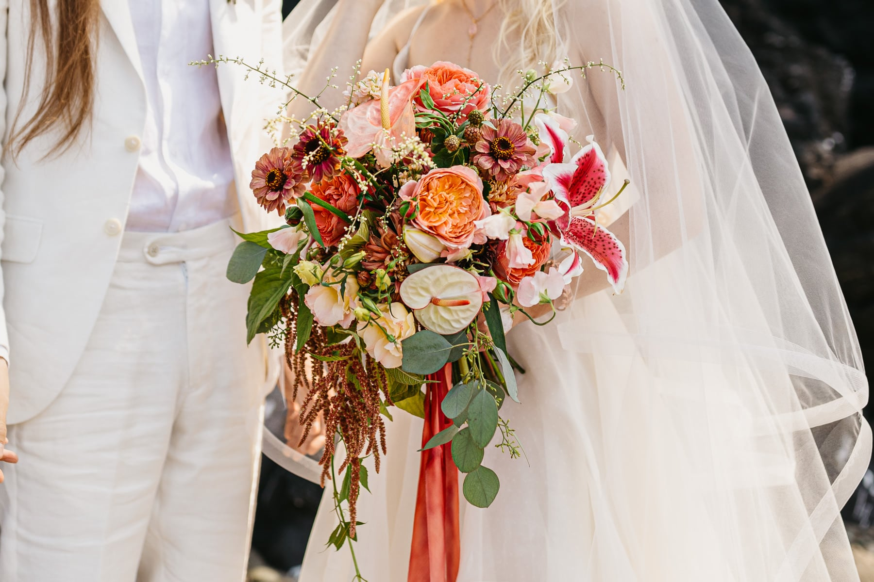 bohemian lilly blush and pink bouquet