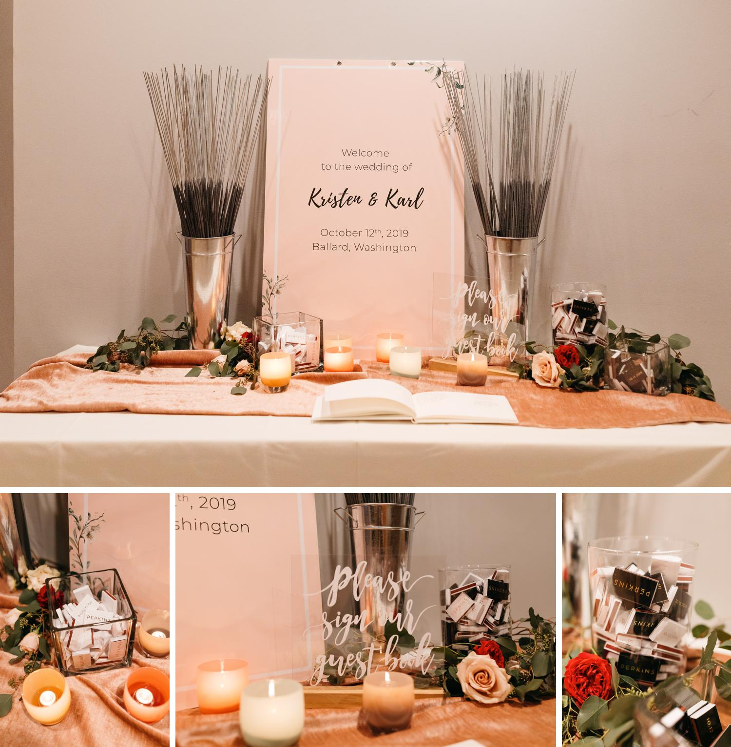 candle themed wedding guestbook area