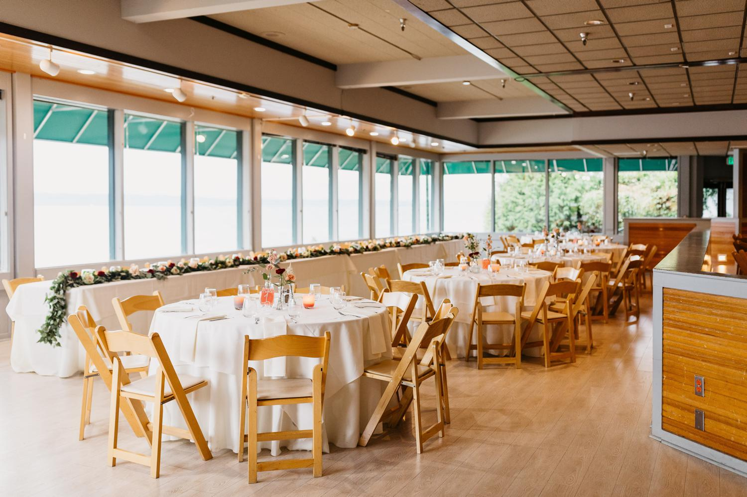 wedding reception space at ballard bay club