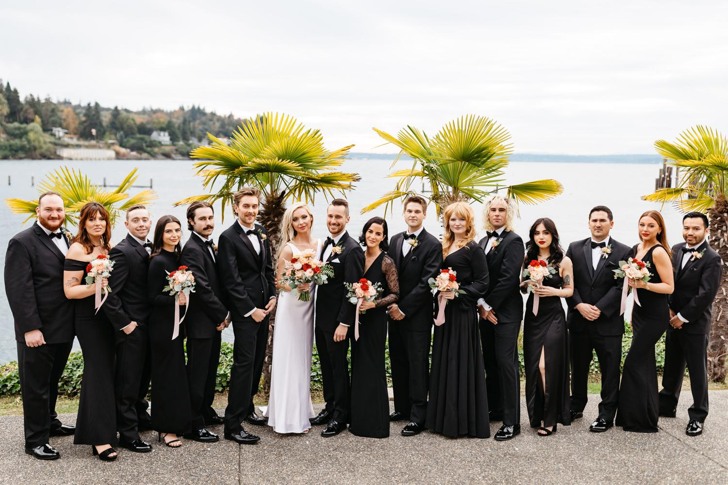 wedding party outside at ballard bay club