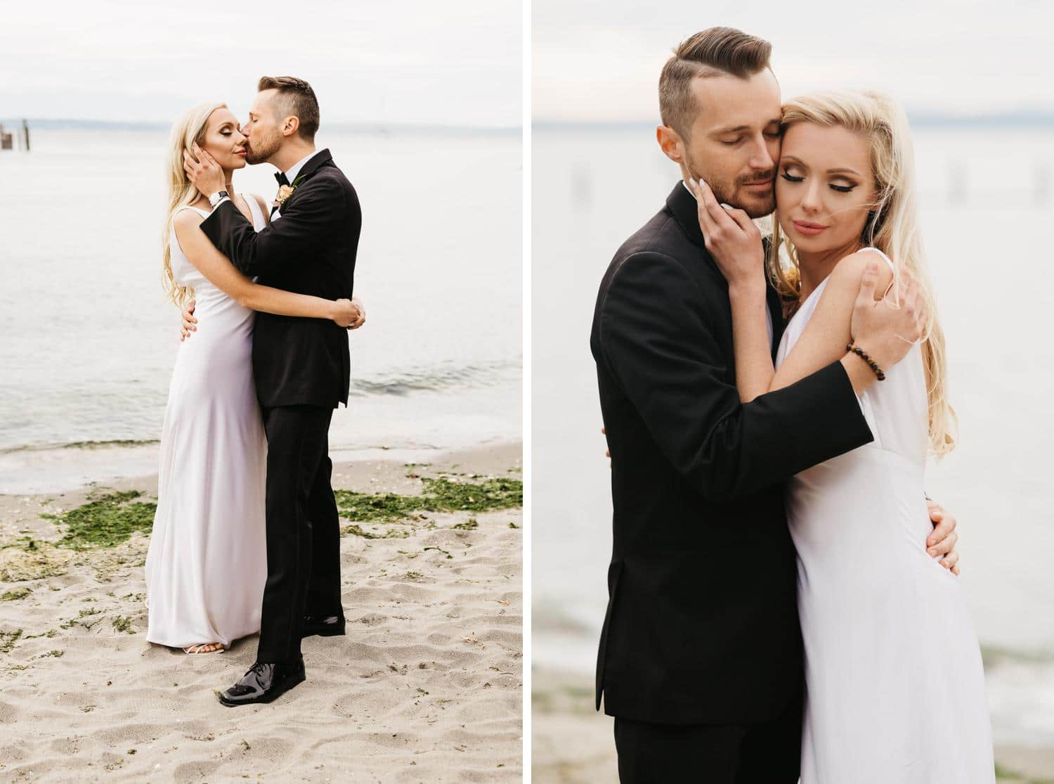 wedding portraits on beach at ballard bay club