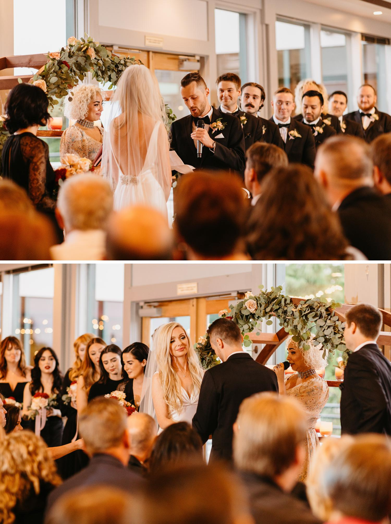 indoor wedding ceremony at ballard bay club