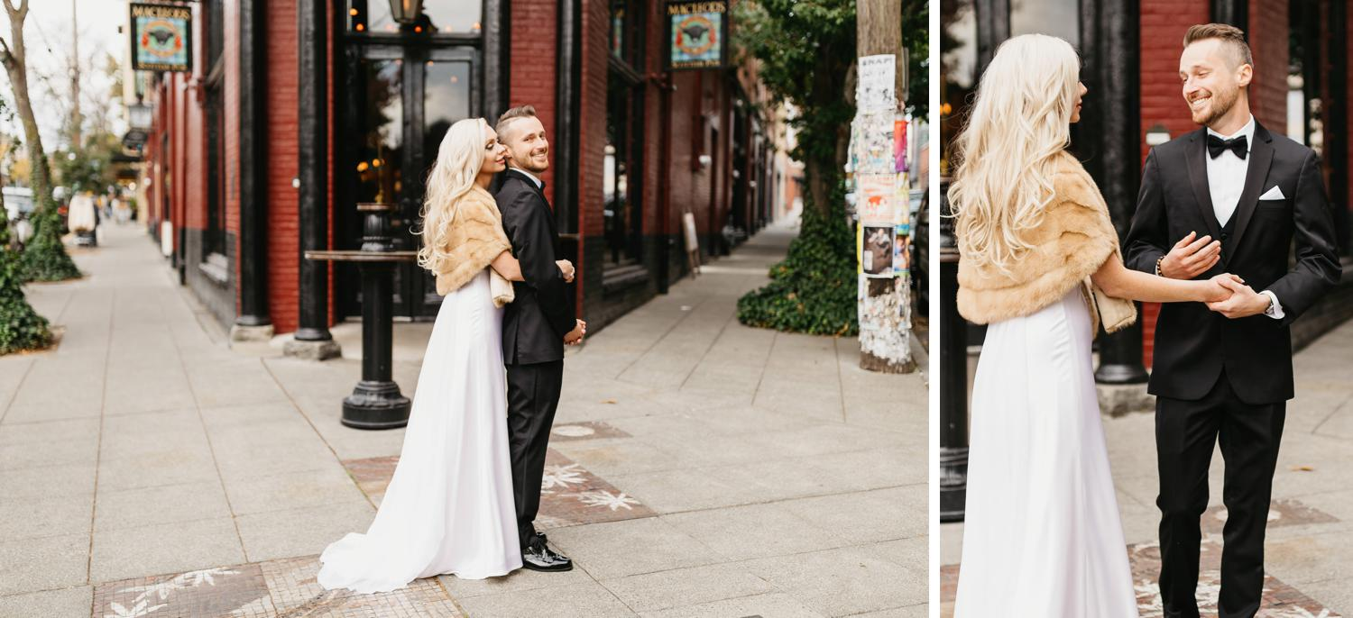 bride and groom first look in ballard