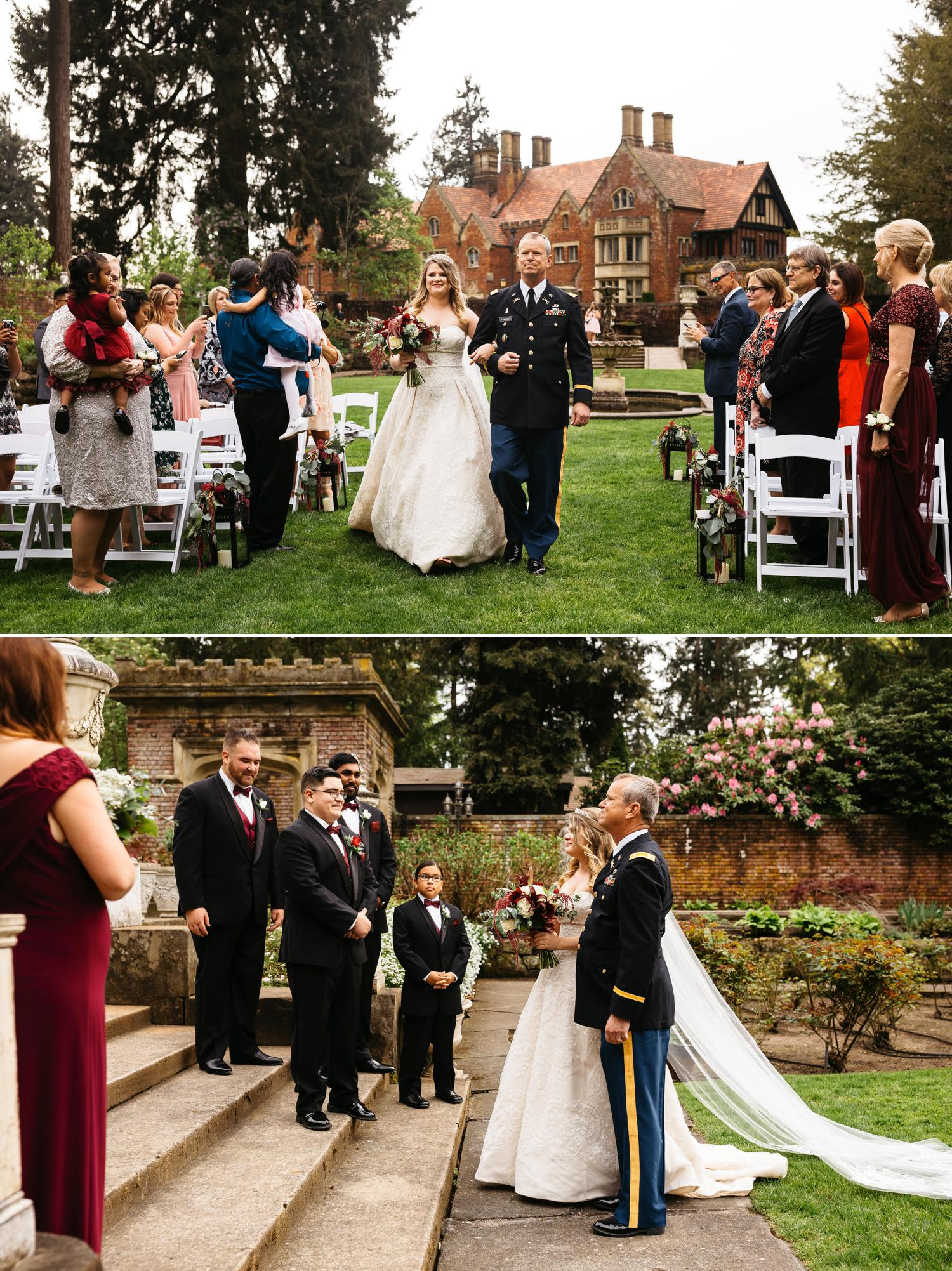 thornewood castle outdoor wedding ceremony