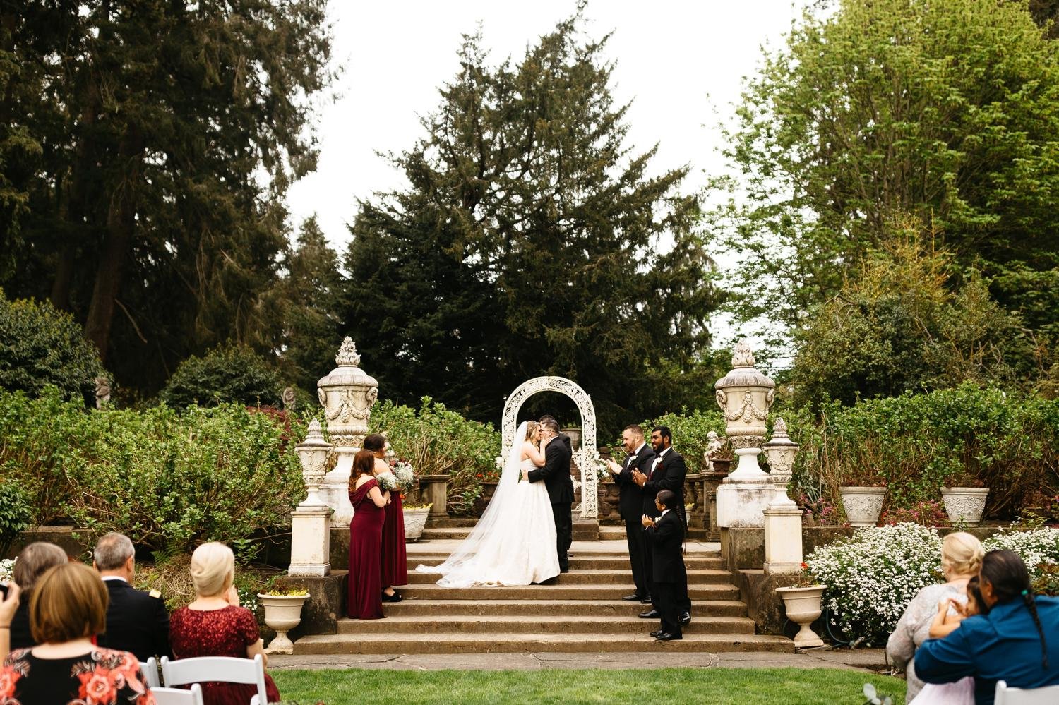 thornewood castle outdoor wedding ceremony