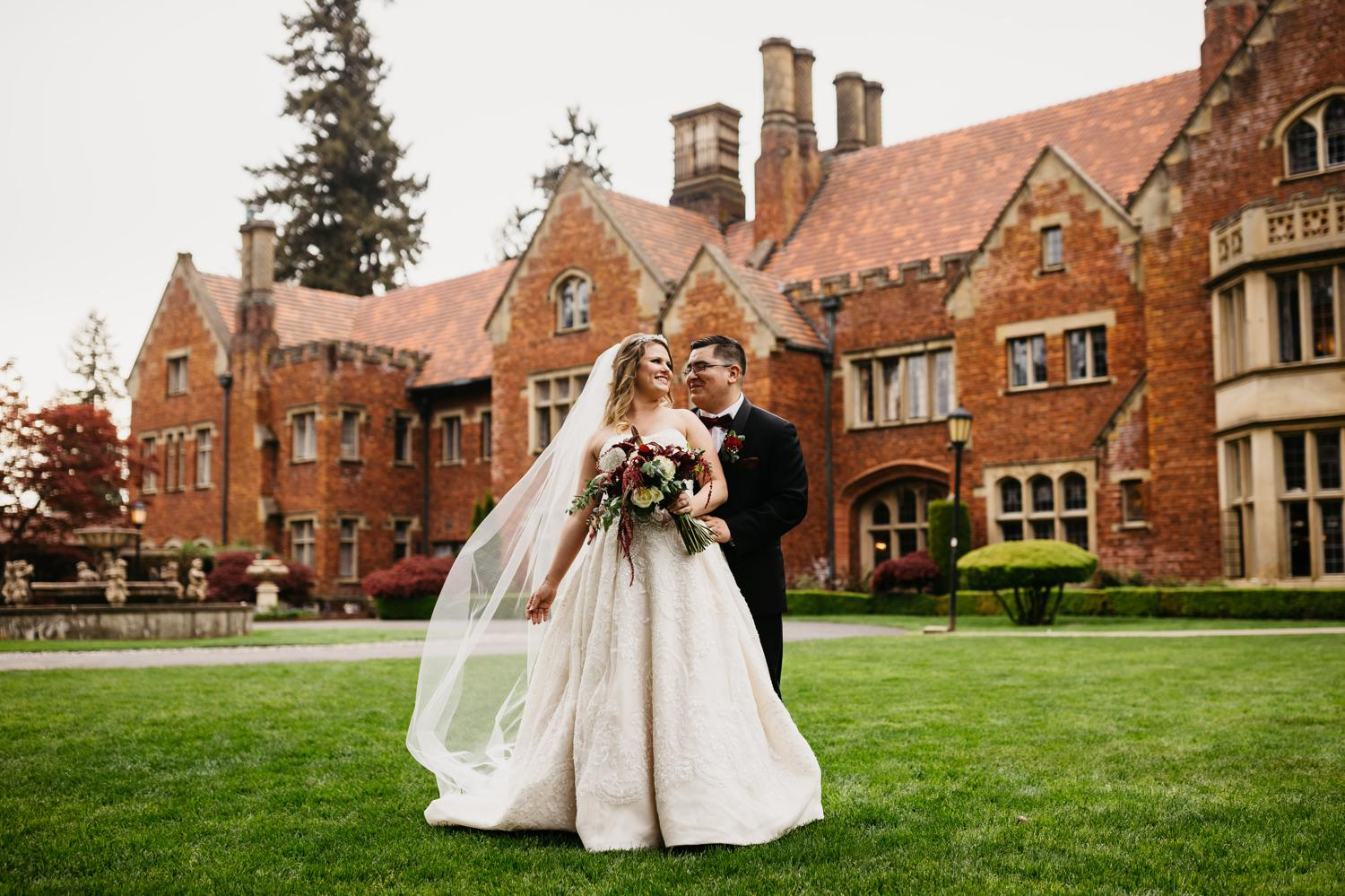 bride and groom at thornewood castle wedding