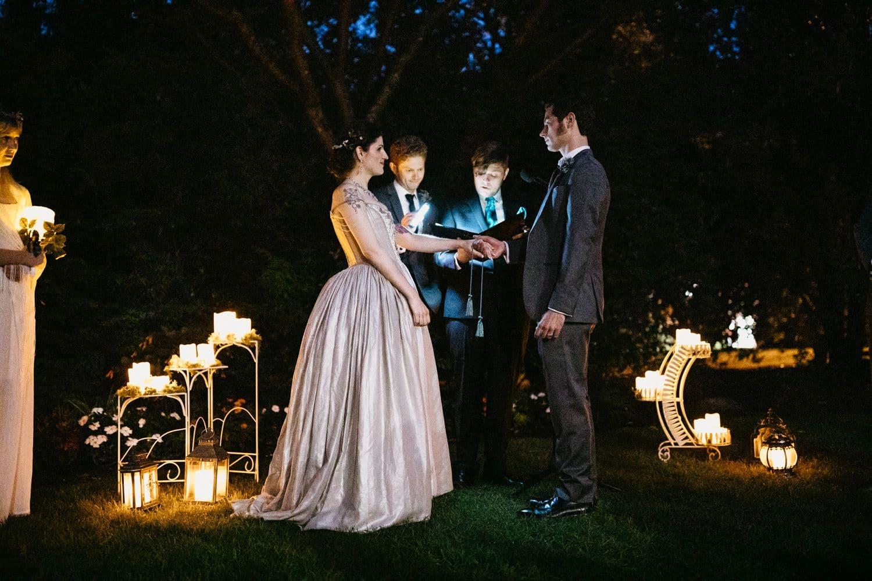 robinswood house wedding ceremony at night