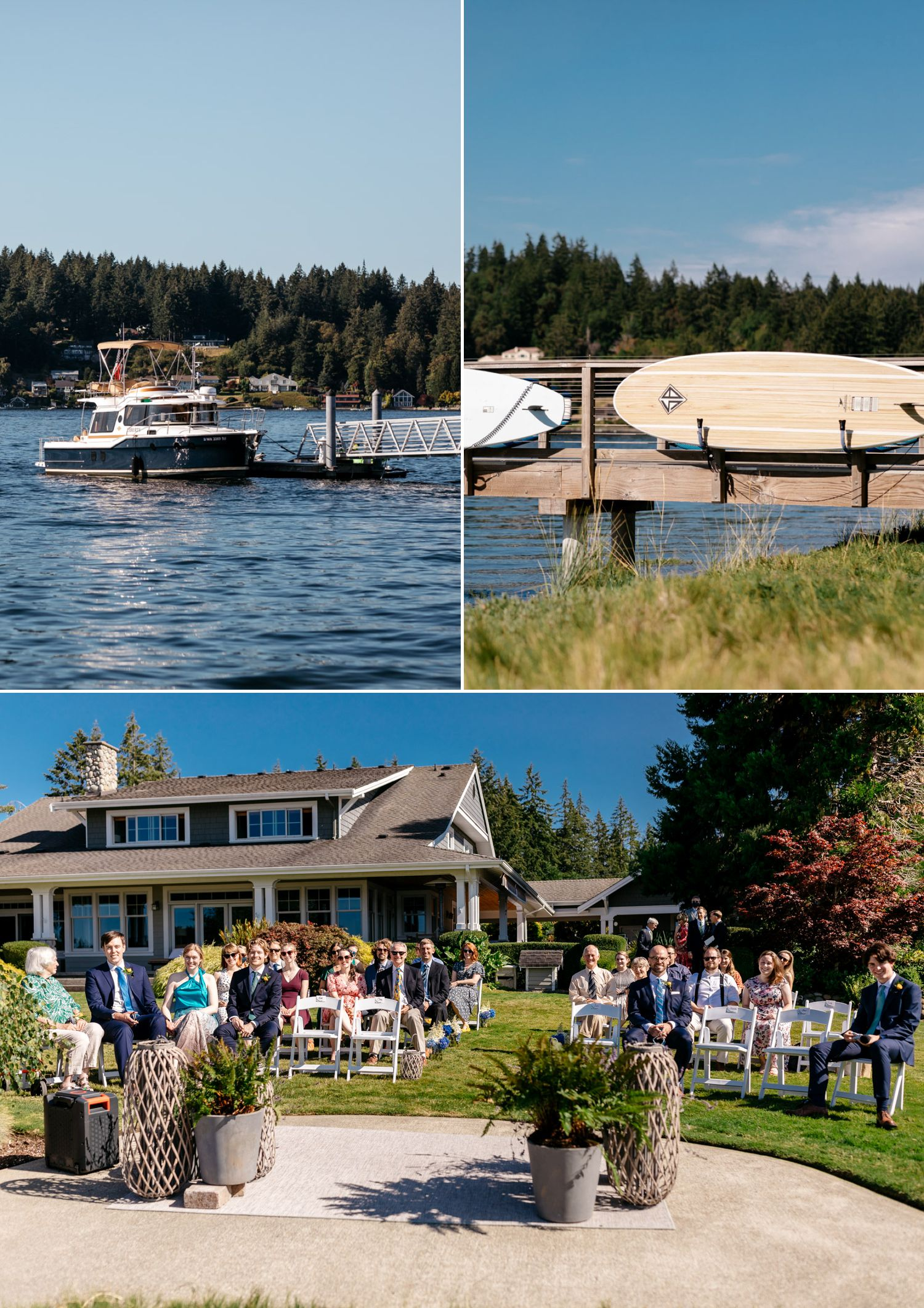 fox island backyard wedding ceremony