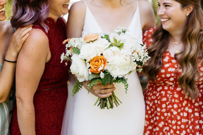 close up of bride bouquet