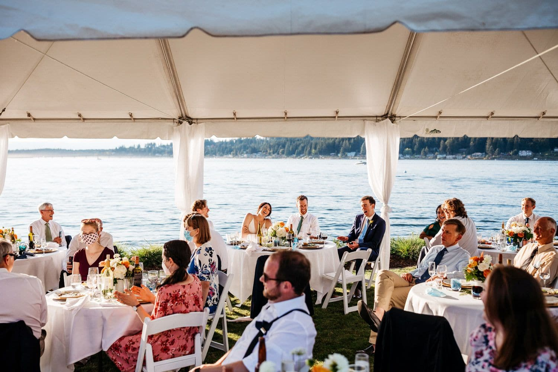 fox island backyard wedding reception