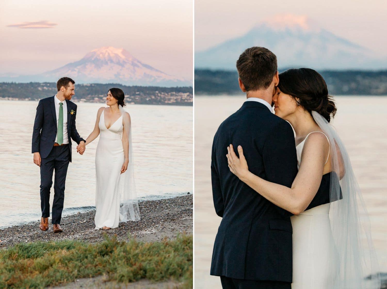 wedding photo mount rainier fox island