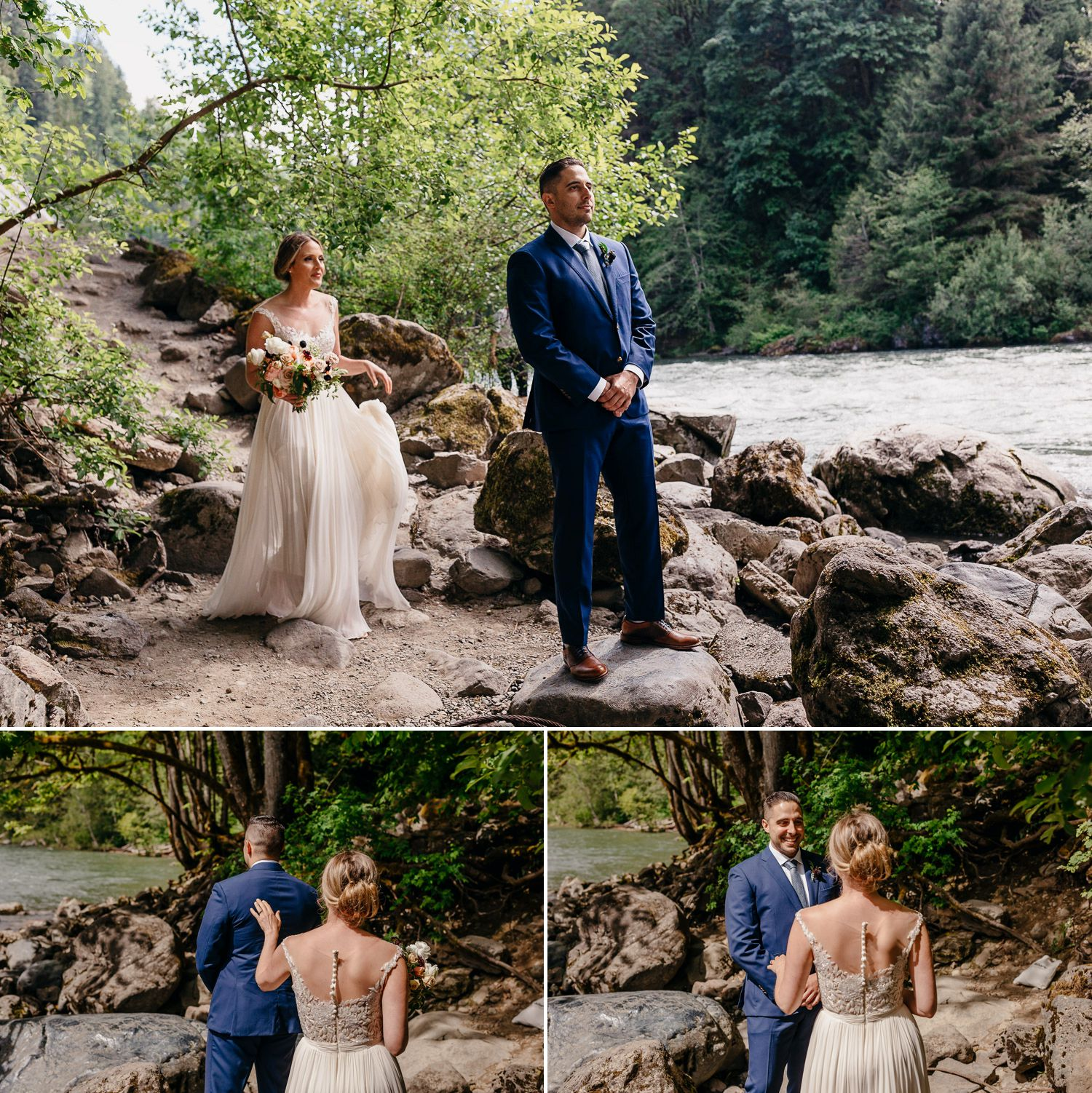 snoqualmie falls wedding first look